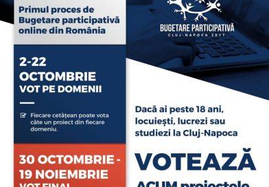Prima etapă de vot în cadrul procesului Bugetare participativă Cluj-Napoca 2017 a început