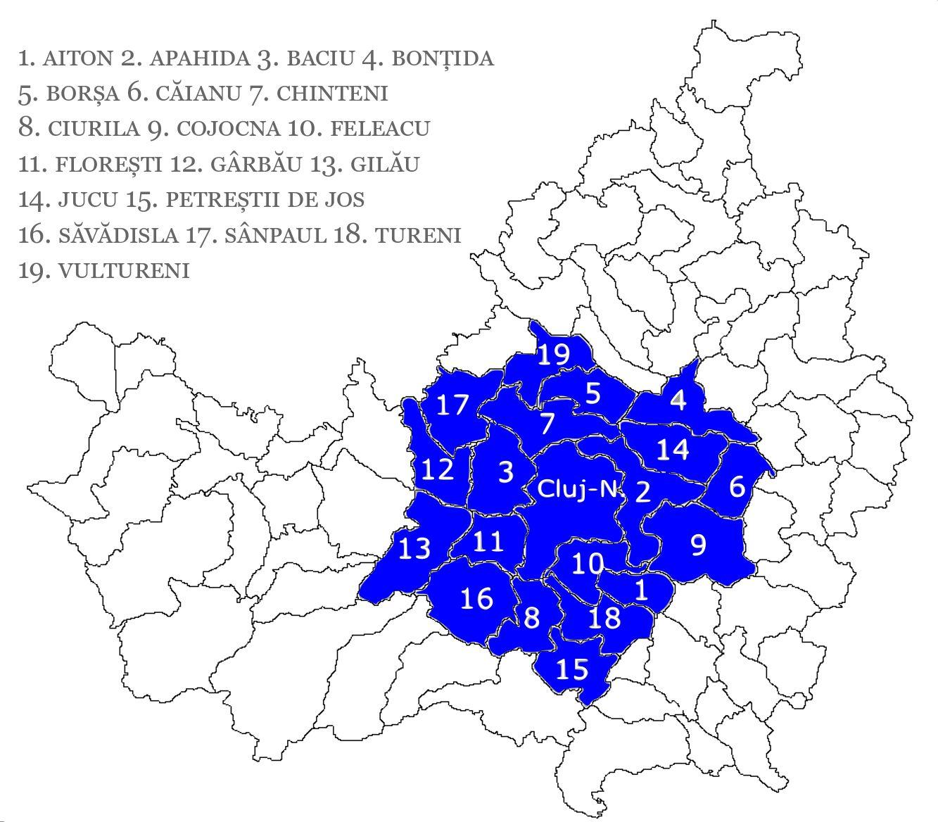 Zona Metropolitană Cluj (ZMC) – localitățile aparținătoare