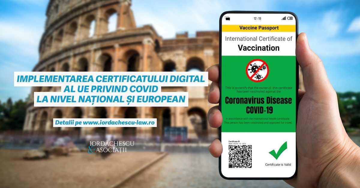Implementarea certificatului digital al UE privind Covid